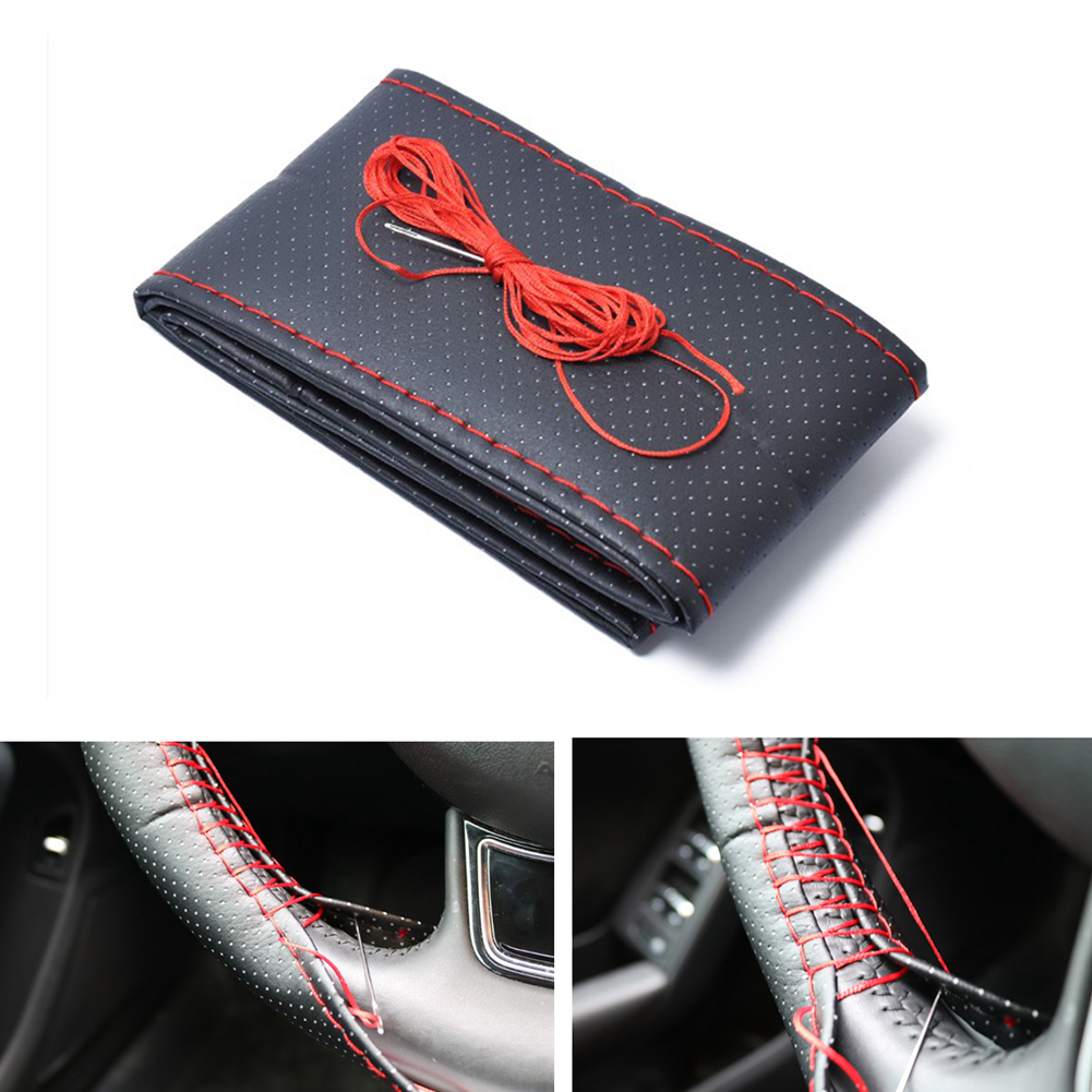 38cm Diameter Handmade Microfiber Leather Steering Wheel Cover Red + Black Cover Black and red_A0276