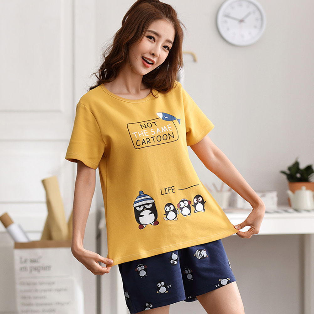 Couple Summer Thin Cotton Cute Short-sleeved Pajamas Two-piece Suit Home Wear 711-2 women_M