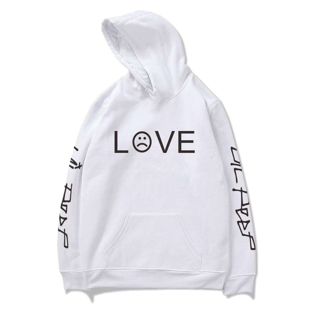 Men Women Lil Peep Loose Long Sleeve Hooded Sweatshirt A-5847-WY02-1 white_XL