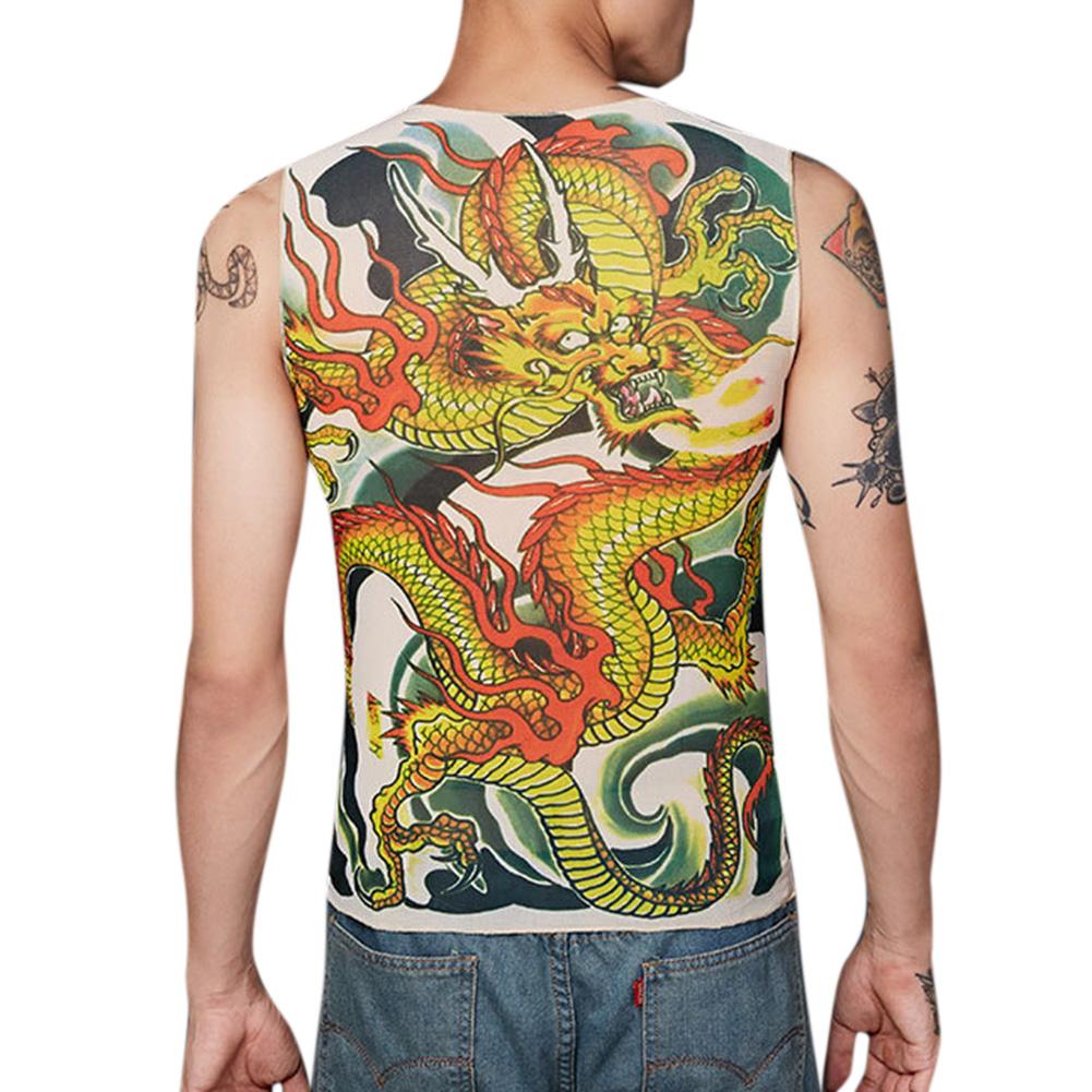 Men Fashion Creative Tattoo Pattern Slim Tops Leisure Breathable Vest one size