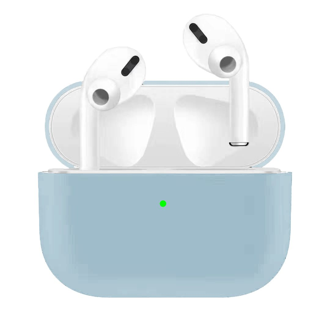 For Airpods Pro Silicone Earphone Case For Airpods Pro Shockproof Cases For Apple Bluetooth Headset Protective Cover Light blue