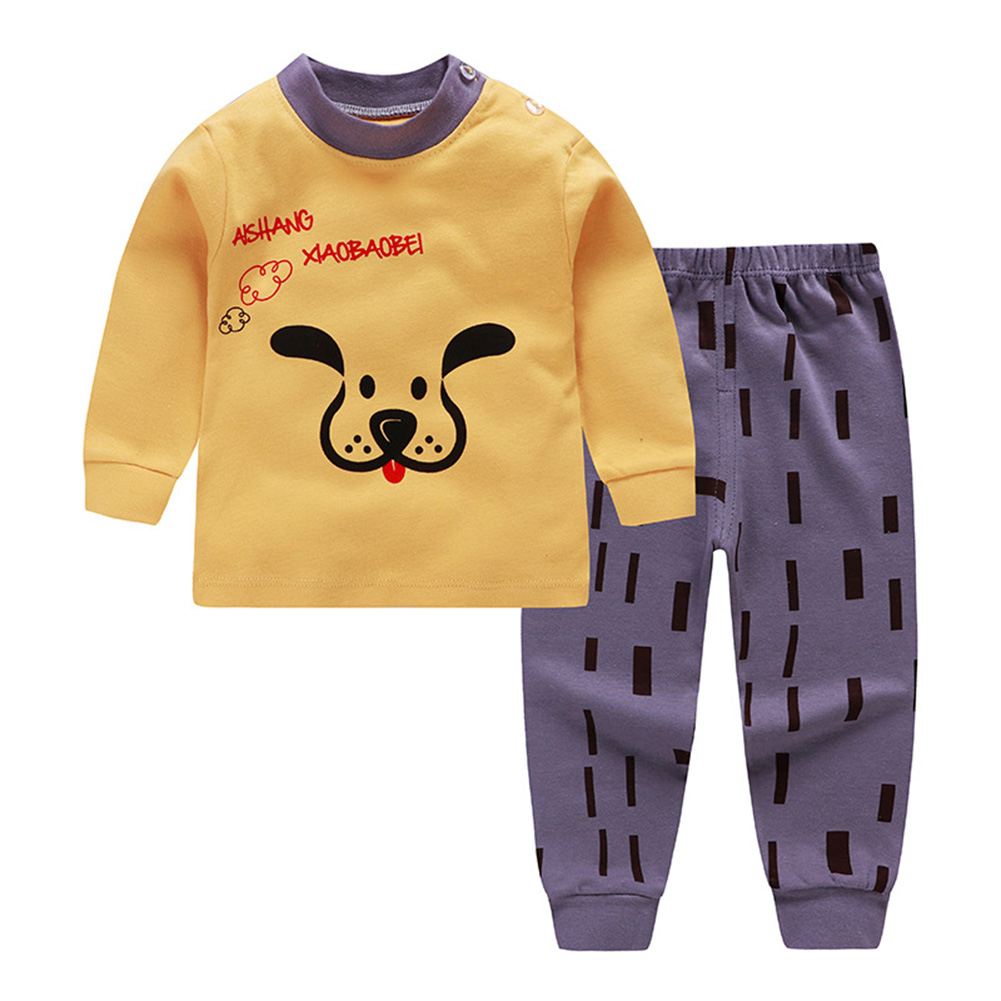 [Indonesia Direct] 2pcs/set Round Collar Soft Cotton Home Wear Set Children Boys Girls  Tops + Pants puppy_80cm.