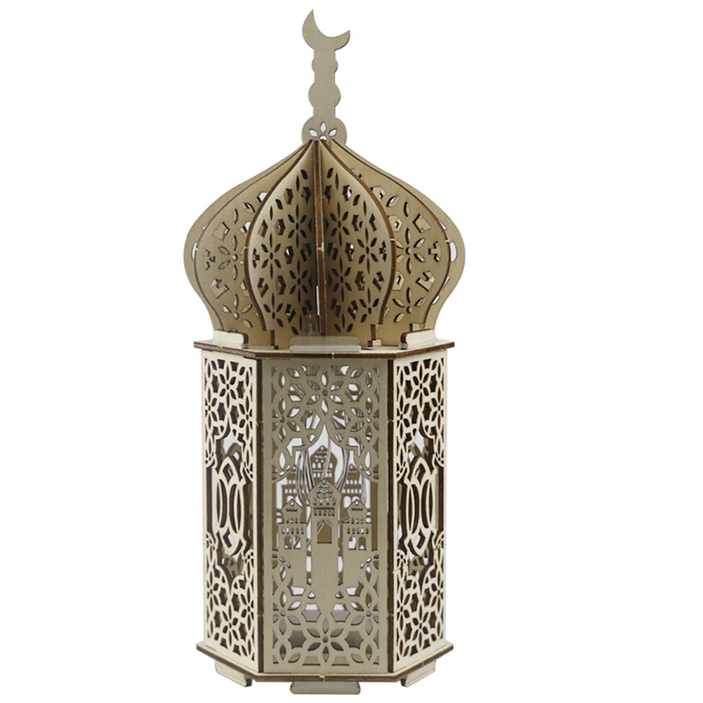 Muslim Light Wooden Lighthouse Shape Ramadan Eid Mubarak Decor for Islam Party Supplies JM01944