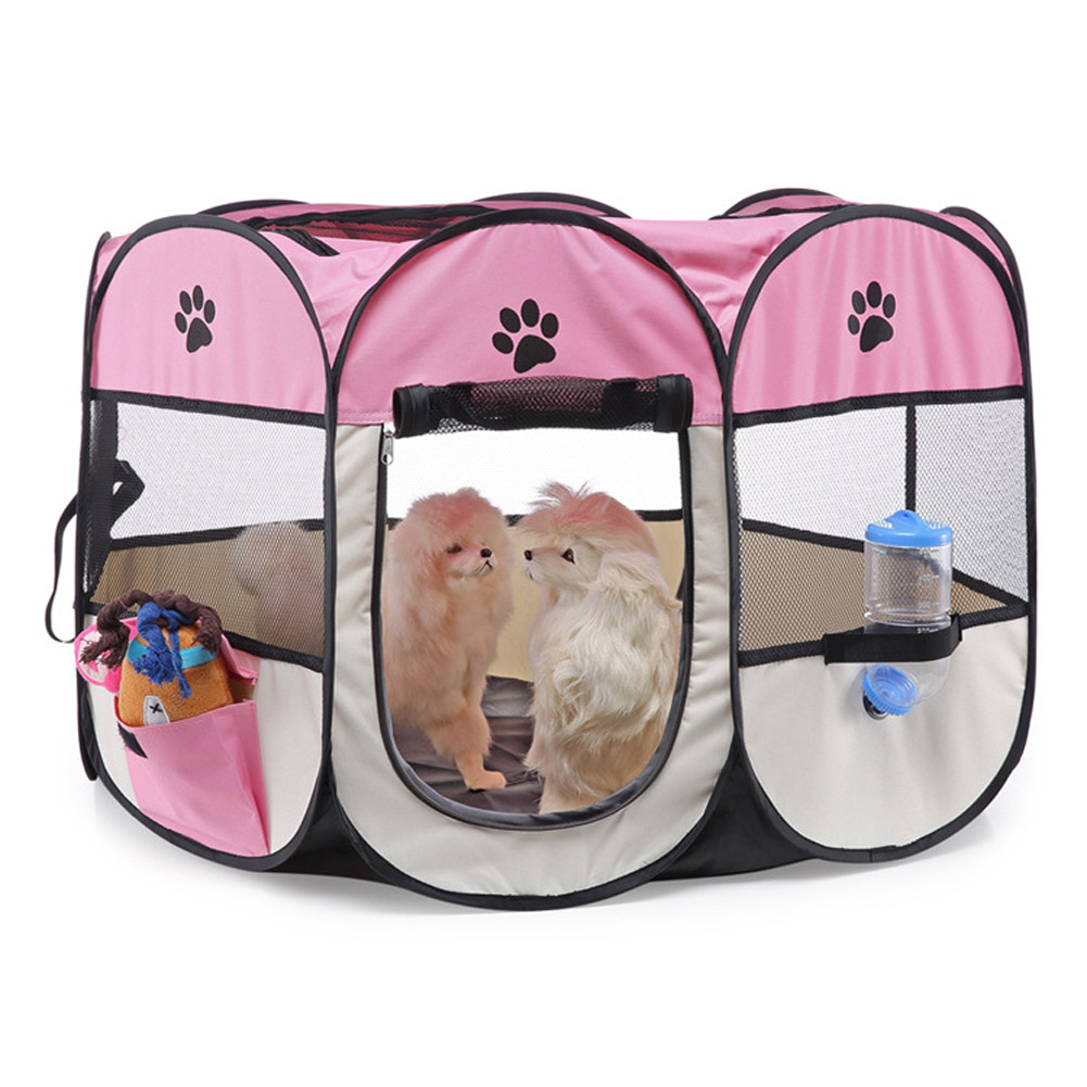 Collapsible Pet Octagonal Tent Pet Octagonal Fence Oxford Cloth Pet Octagonal Cage Cat Dog Cage Pet   Pink white_S