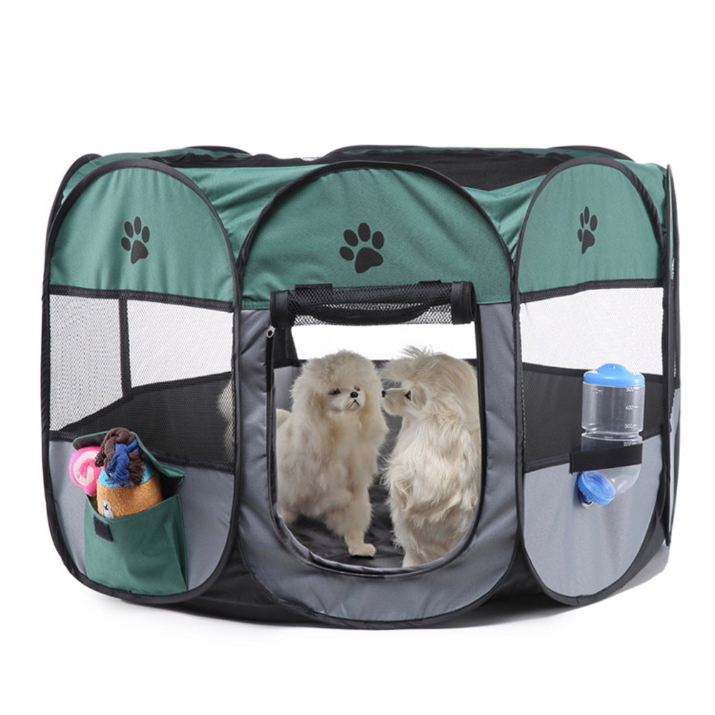 Collapsible Pet Octagonal Tent Pet Octagonal Fence Oxford Cloth Pet Octagonal Cage Cat Dog Cage Pet   Green gray_S