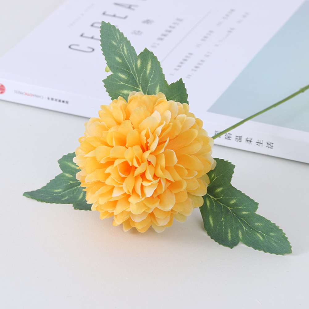 Silk Cloth Artificial Flower Ball Chrysanthemums Oranment Wedding Home  Decoration Yellow