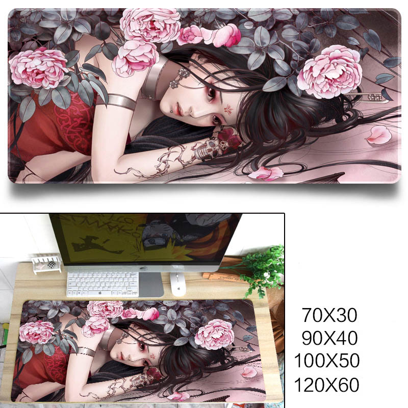 Fashion Cool Pattern Gaming Mouse Pad Protector Desk Pad for Office Home Desk Sword three beauty_900X400X3 mm