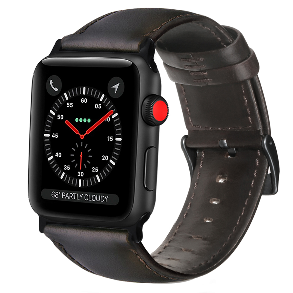 [Indonesia Direct] Retro Vintage Leather Strap Replacement Watchband for Apple Watch Series 3 /2 / 1 42mm/38mm 38mm dark brown