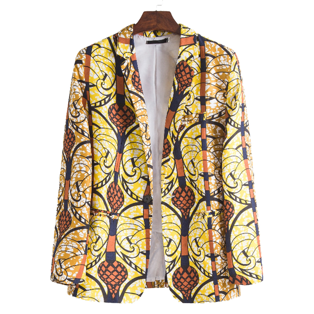 Men Casual Suit Casual African Ethnic Style Printing Single Breasted Coat XF210_XL