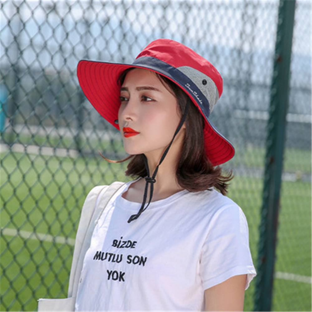 Women Breathable  Wide Brim Sun Hat   Breathable Mesh  Sunscrenn Hat Folding Mountaineering Hat red