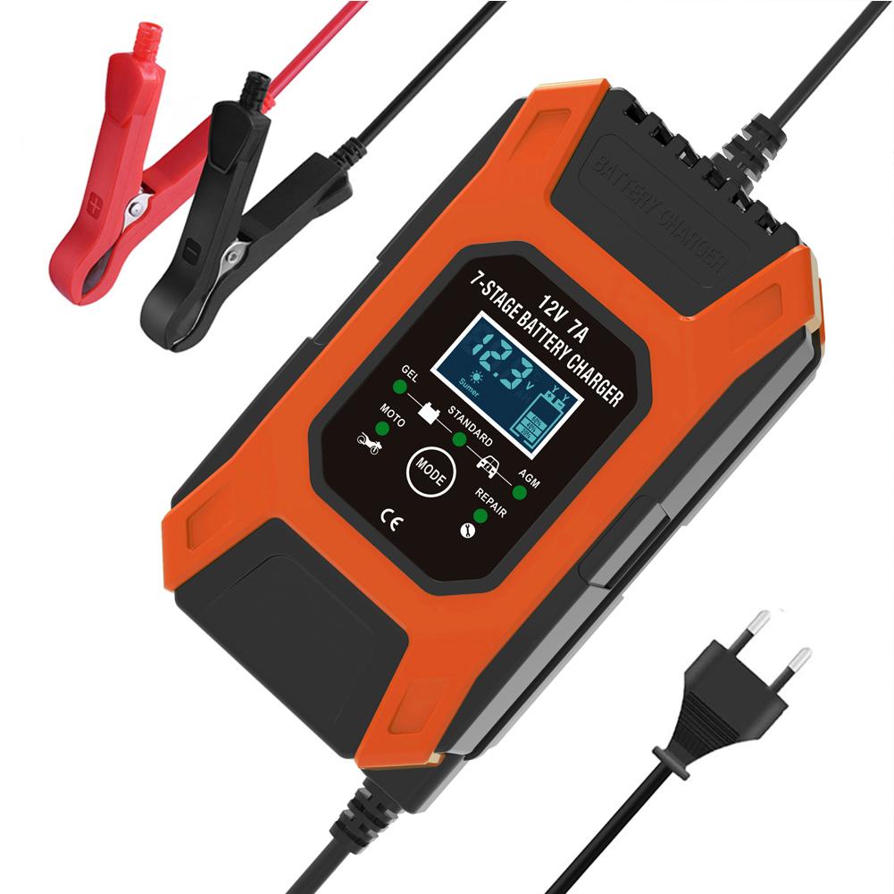 12v 7a 7-stage Battery Charger Wet Gel Std Agm Car Motorcycle Battery Charger Pulse Charge Maintainer Desulfator Red_EU Plug