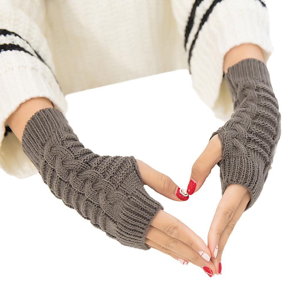 Women Warm Knitting Half Finger Gloves for Winter Wear Dark gray_One size