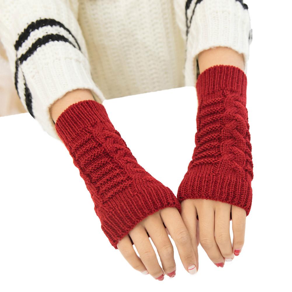 Women Warm Knitting Half Finger Gloves for Winter Wear red_One size