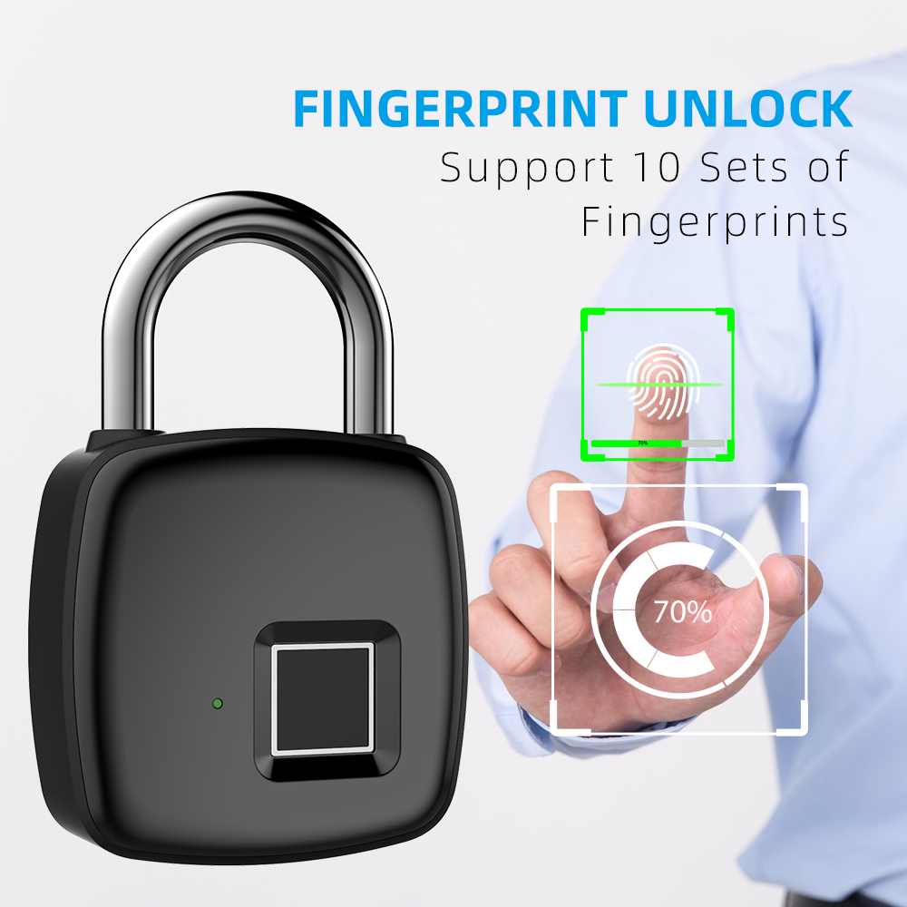 P30 Fingerprint Padlock Anti-theft Intelligent Keyless Lock for Luggage Suitcase Backpack Electronic Lock black