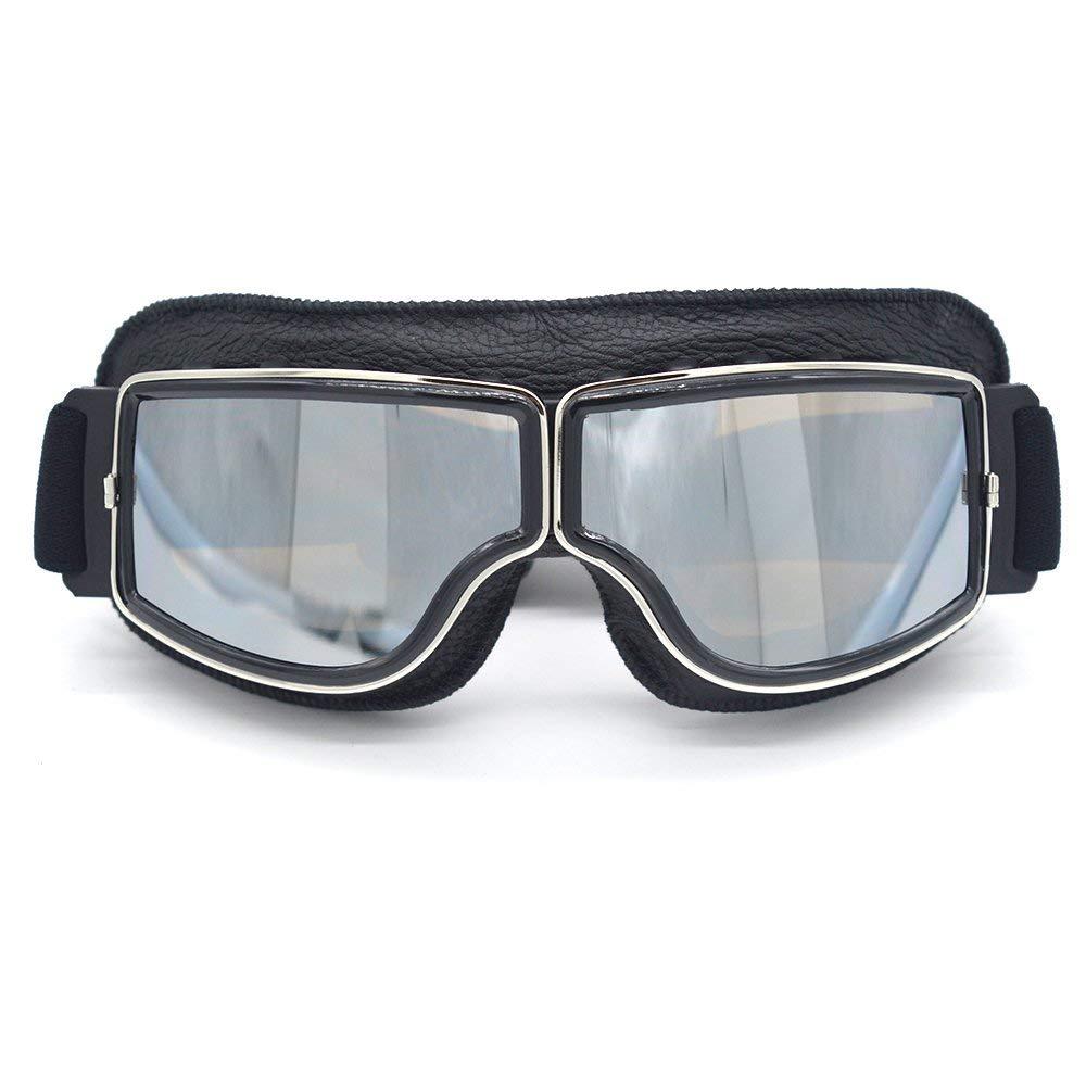 Leather Vintage Scooter Goggles Pilot Ski Sunglasses Helmet Eyewear