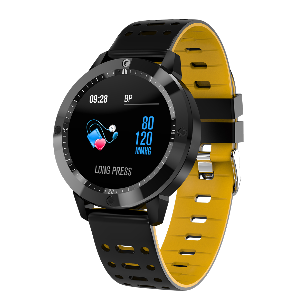 Smart Bracelet Blood Pressure Step Count Push Notification Color Screen Bluetooth Sports Round Dial Waterproof Watch yellow