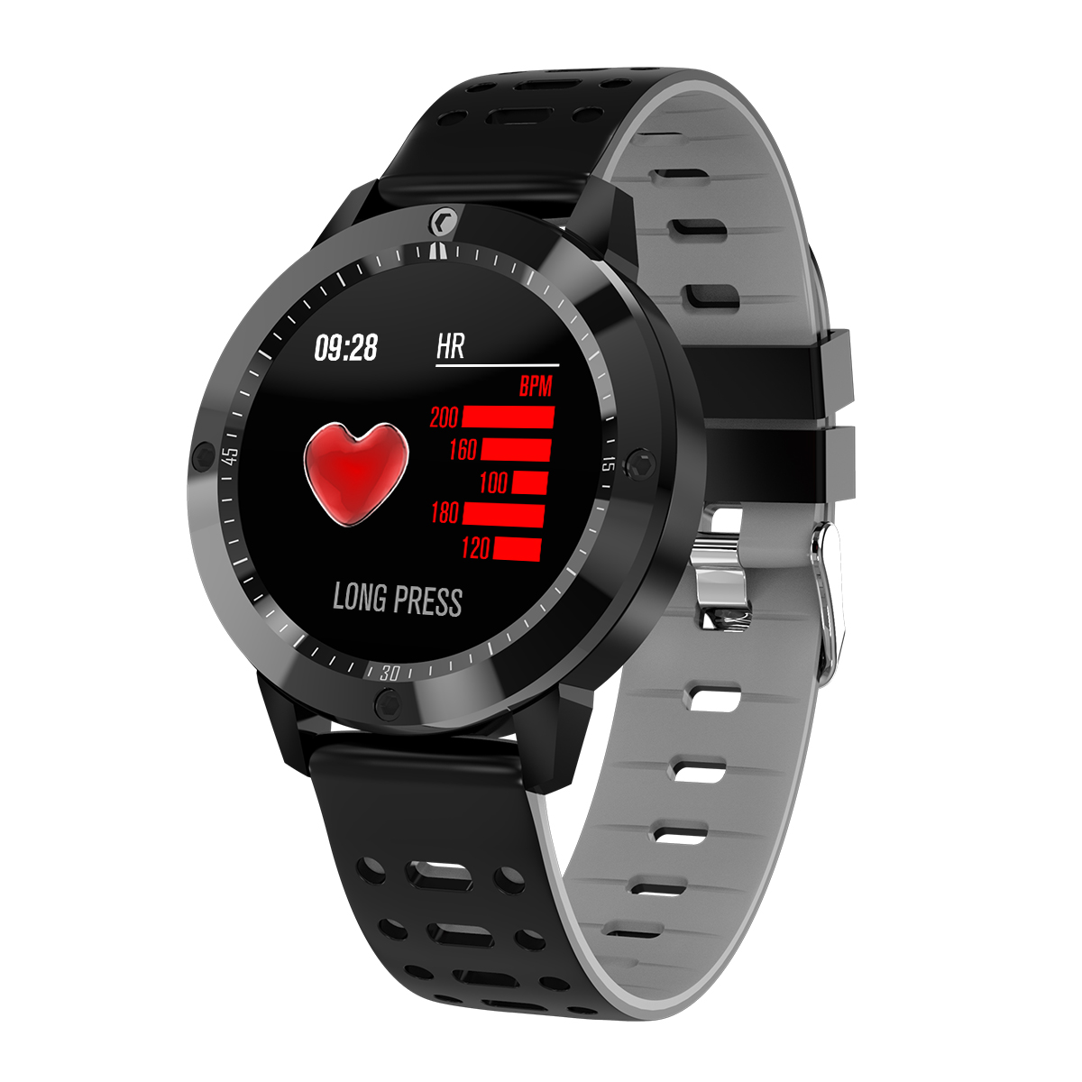 Smart Bracelet Blood Pressure Step Count Push Notification Color Screen Bluetooth Sports Round Dial Waterproof Watch gray