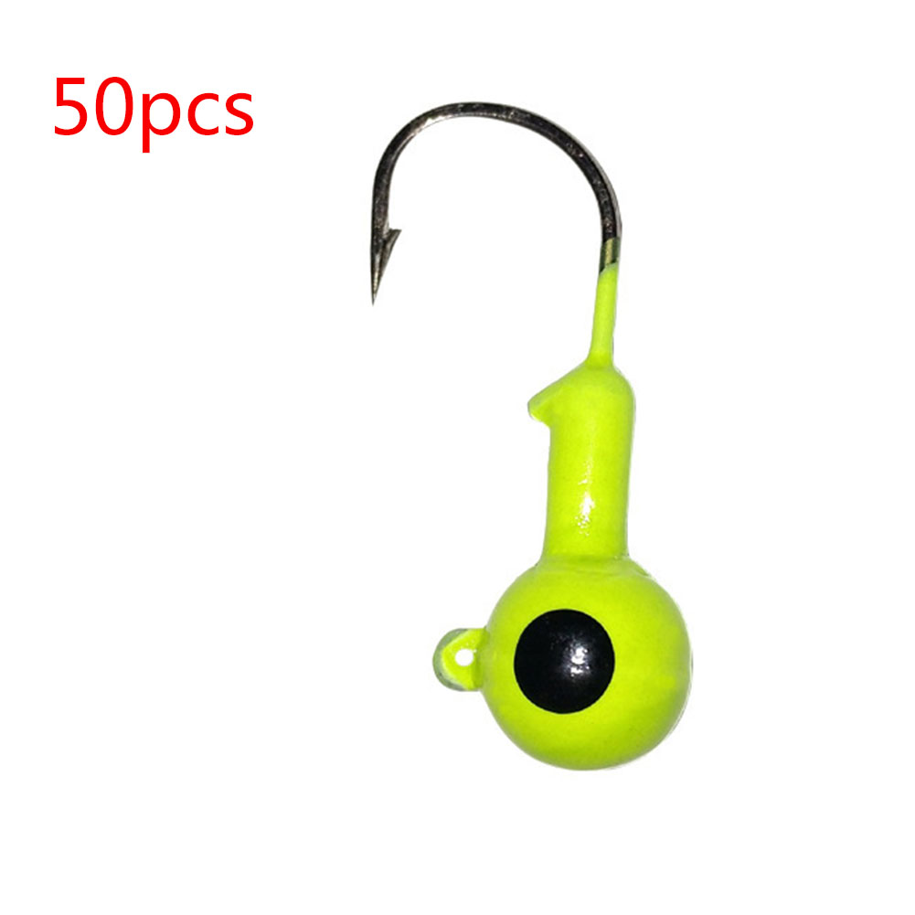 50 Pcs/set Jig Head Colorful Spray Paint Soft Bait Insect Hooks Yellow 50 bags_1.8g