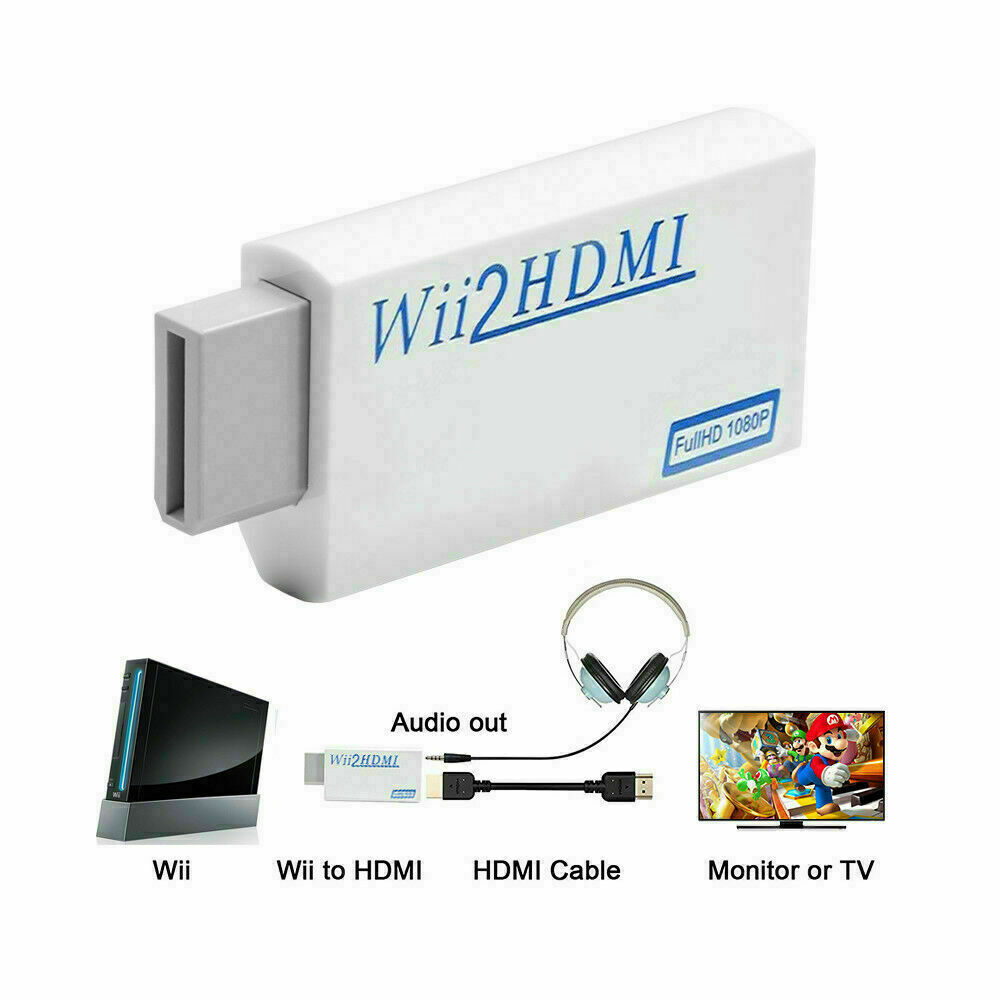 Portable Wii to HDMI Wii2HDMI Full HD Converter Audio Output Adapter for TV white