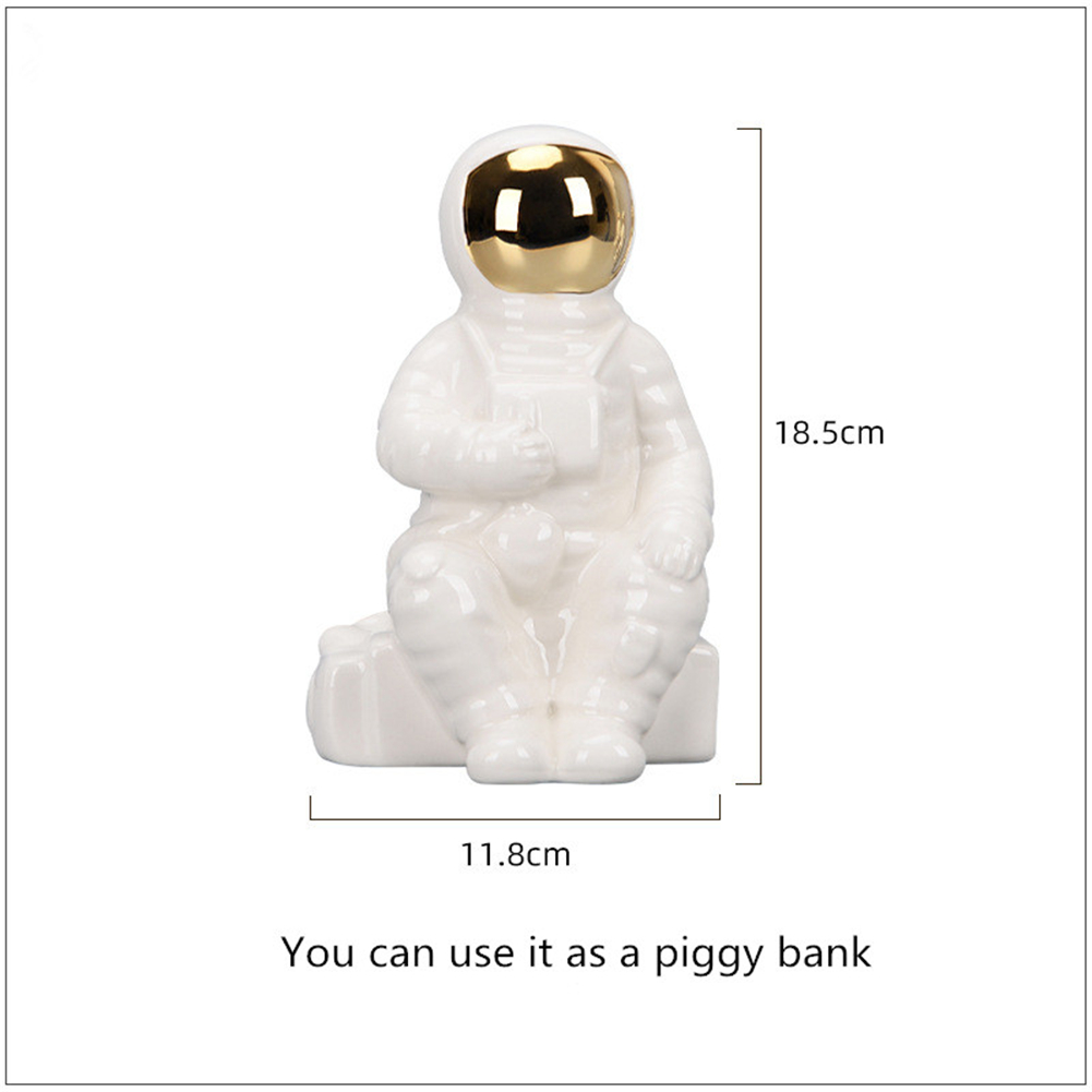 Ceramic Astronaut  Figure Decorative Oranment Desktop Flower Holder For Household Living Room Sitting type (can be used as a piggy bank)