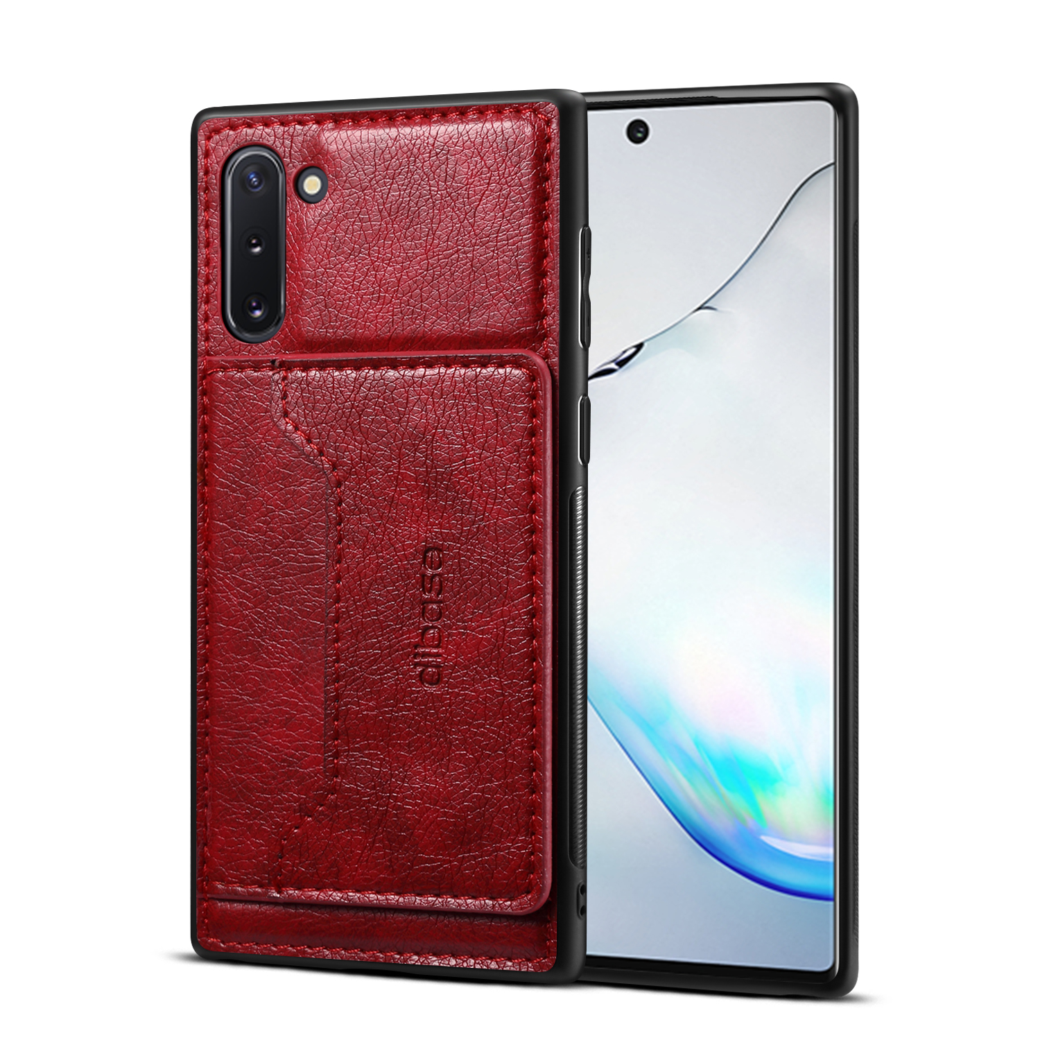 For Samsung Note 10/10 Pro Cellphone Cover 2-in-1 Stand Function Textured PU Leather Anti-scratch Overall Protection Case Card Holder red