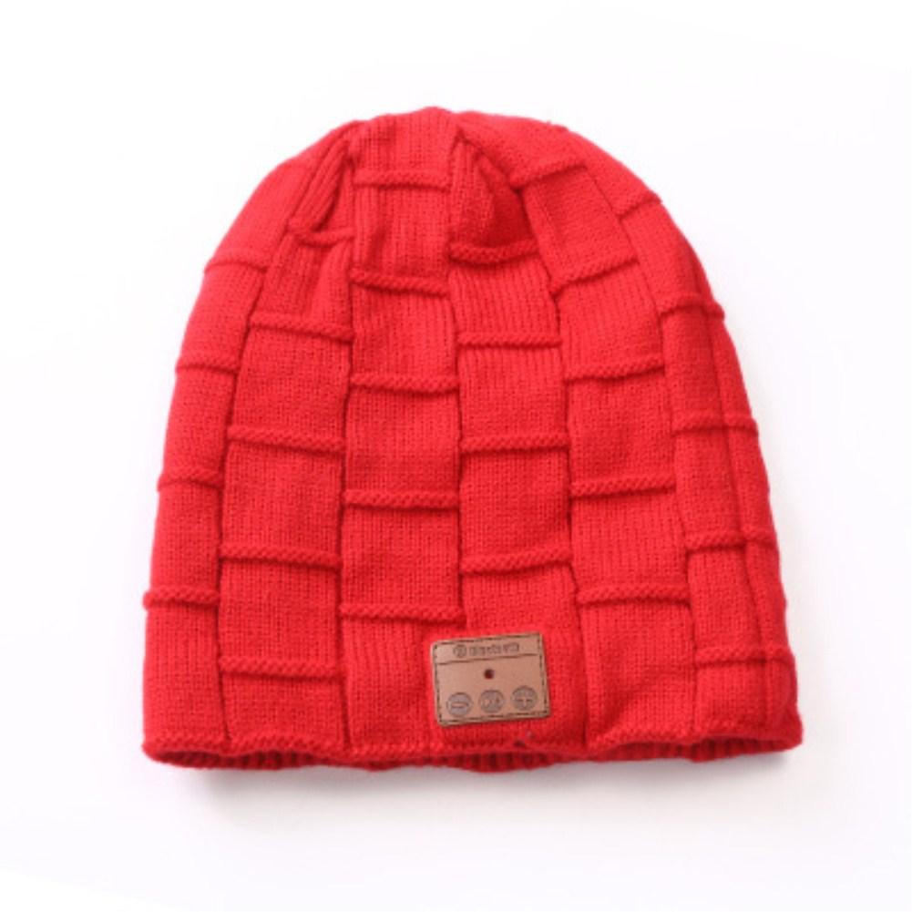 V5.0 Beanie Knitted Plus Velvet Pony Tail Wireless Headset Call Music Cap Red