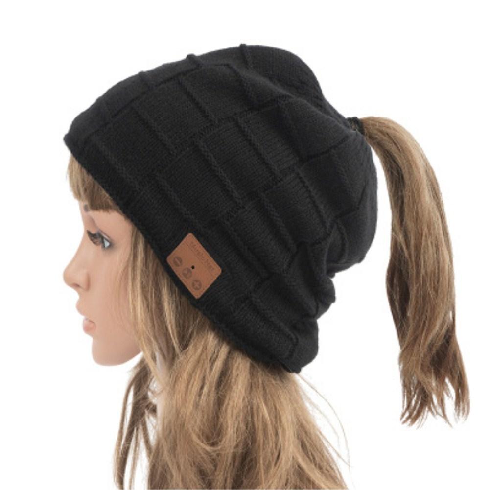 V5.0 Beanie Knitted Plus Velvet Pony Tail Wireless Headset Call Music Cap Open hole pony tail black