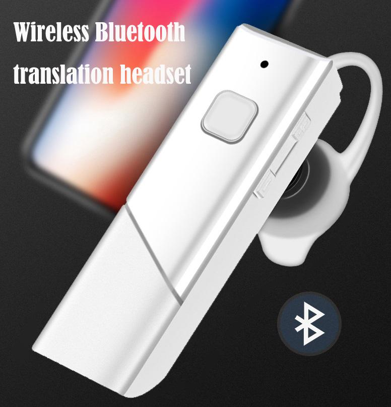 HT20 Smart Voice Translator Wireless Headset Bluetooth5.0 Earphone Multi Languages Instant Real-time Translation white