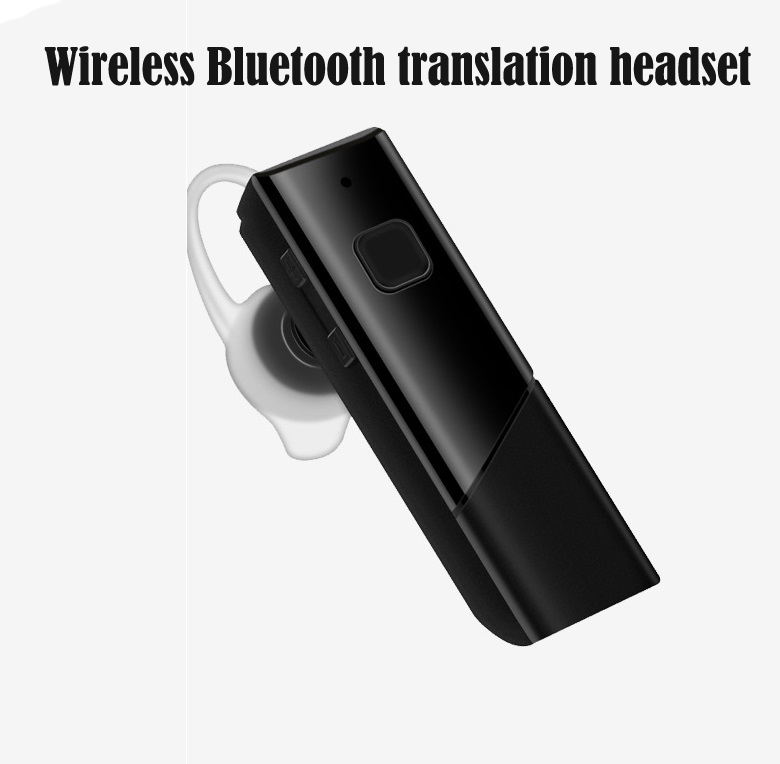 HT20 Smart Voice Translator Wireless Headset Bluetooth5.0 Earphone Multi Languages Instant Real-time Translation black