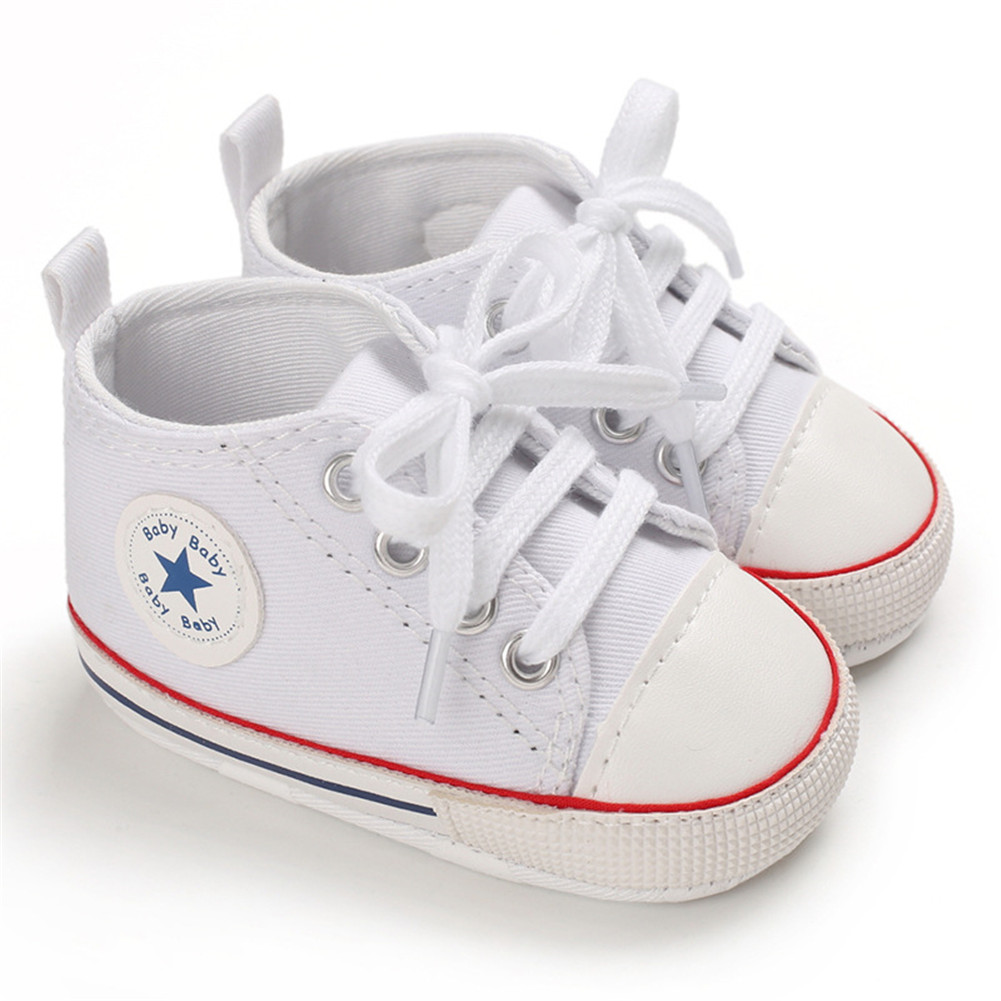 Baby Shoes Soft-soled Canvas Multicolor Toddler Shoes for 0-18m Babies P white red strip_11CM bottom length