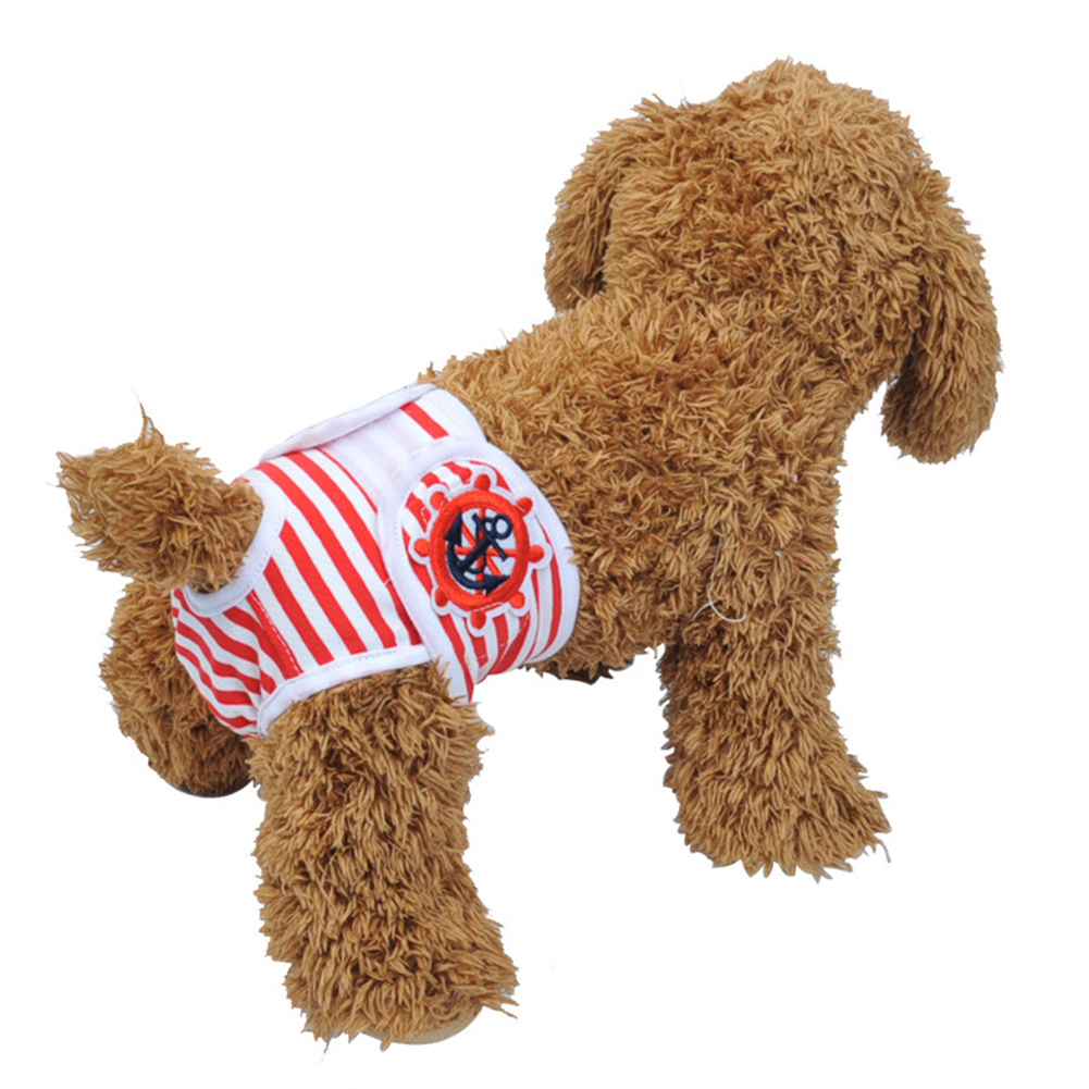Cute Pet Dog Physiological Pants Sanitary Pants for Female Dog Underwear  Red and white stripe_S