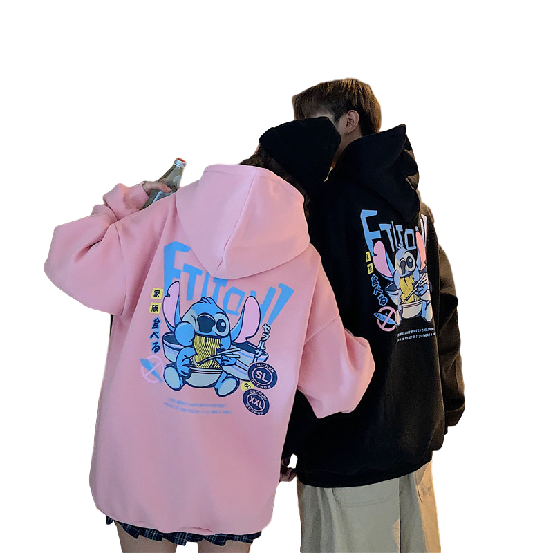 Men's and Women's Hoodie Spring and Autumn Thin Loose Cartoon Print Long-sleeve Hooded Sweater Pink_L