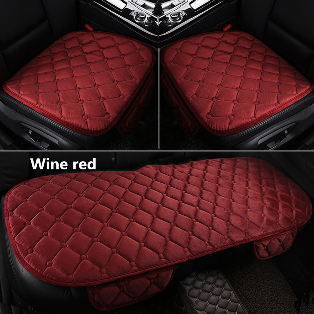 Universal Car Seat Cushion Velvet Silk Seat Cover Set Wine Red
