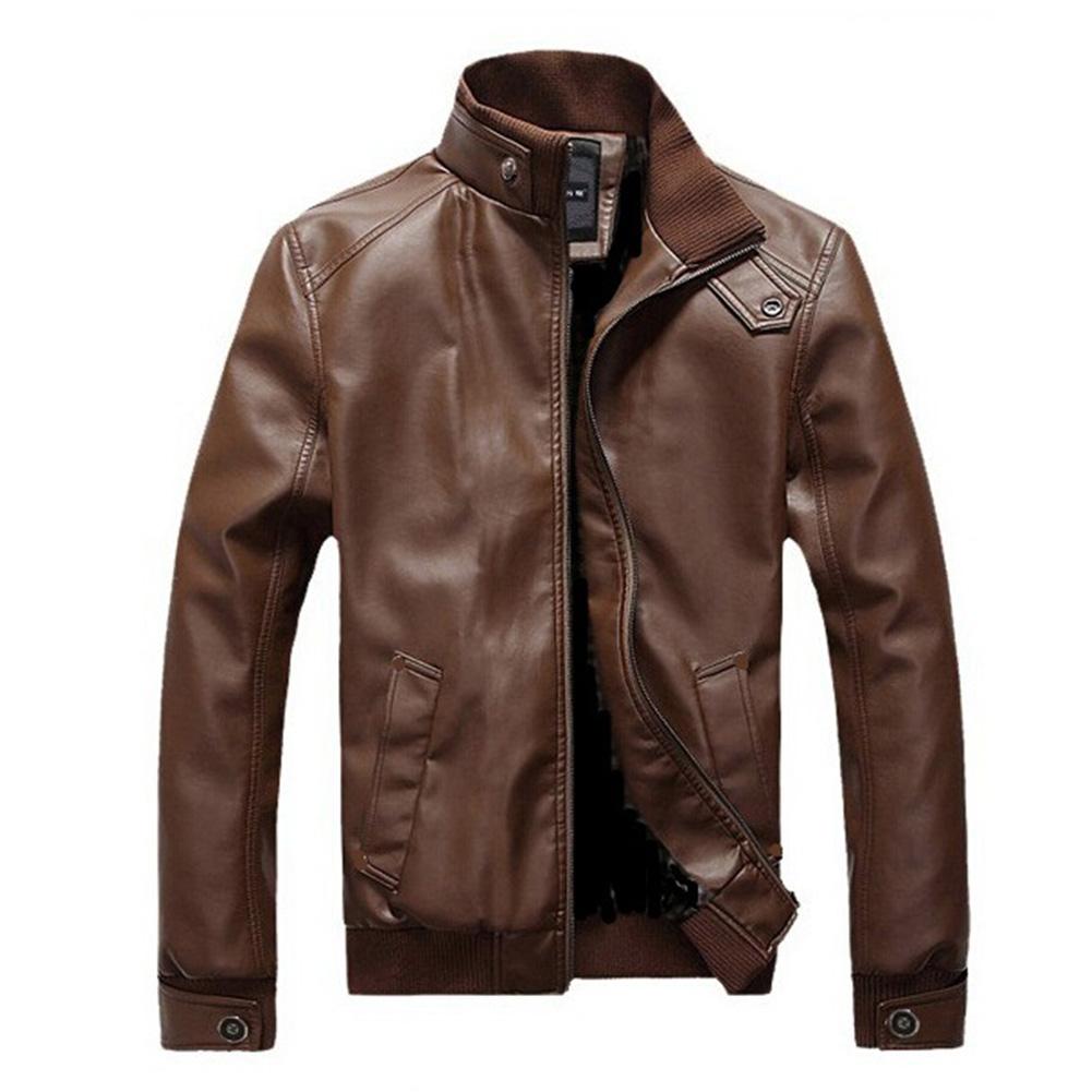 Men Motorcycle Faux Leather Coat Stand Collar Ribbed Hem Slim PU Jacket Overcoat brown_M