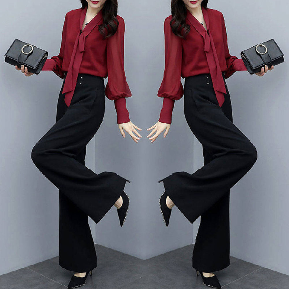 Women Autumn Shirt+Thin High Wide Leg Pants Two Piece Suit Loose Waist Fashion Outfit red_L