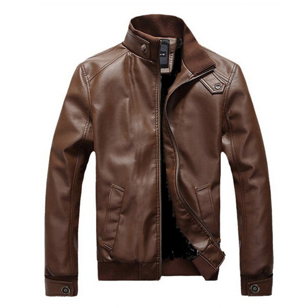 Men Motorcycle Faux Leather Coat Stand Collar Ribbed Hem Slim PU Jacket Overcoat brown_XL