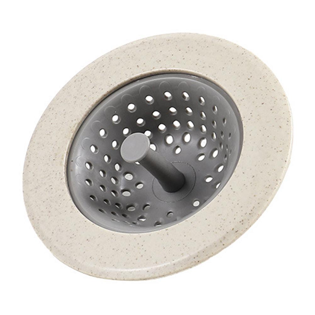 Anti-blocking Sink Strainer Basket with Handle for Kitchen Washing Beige