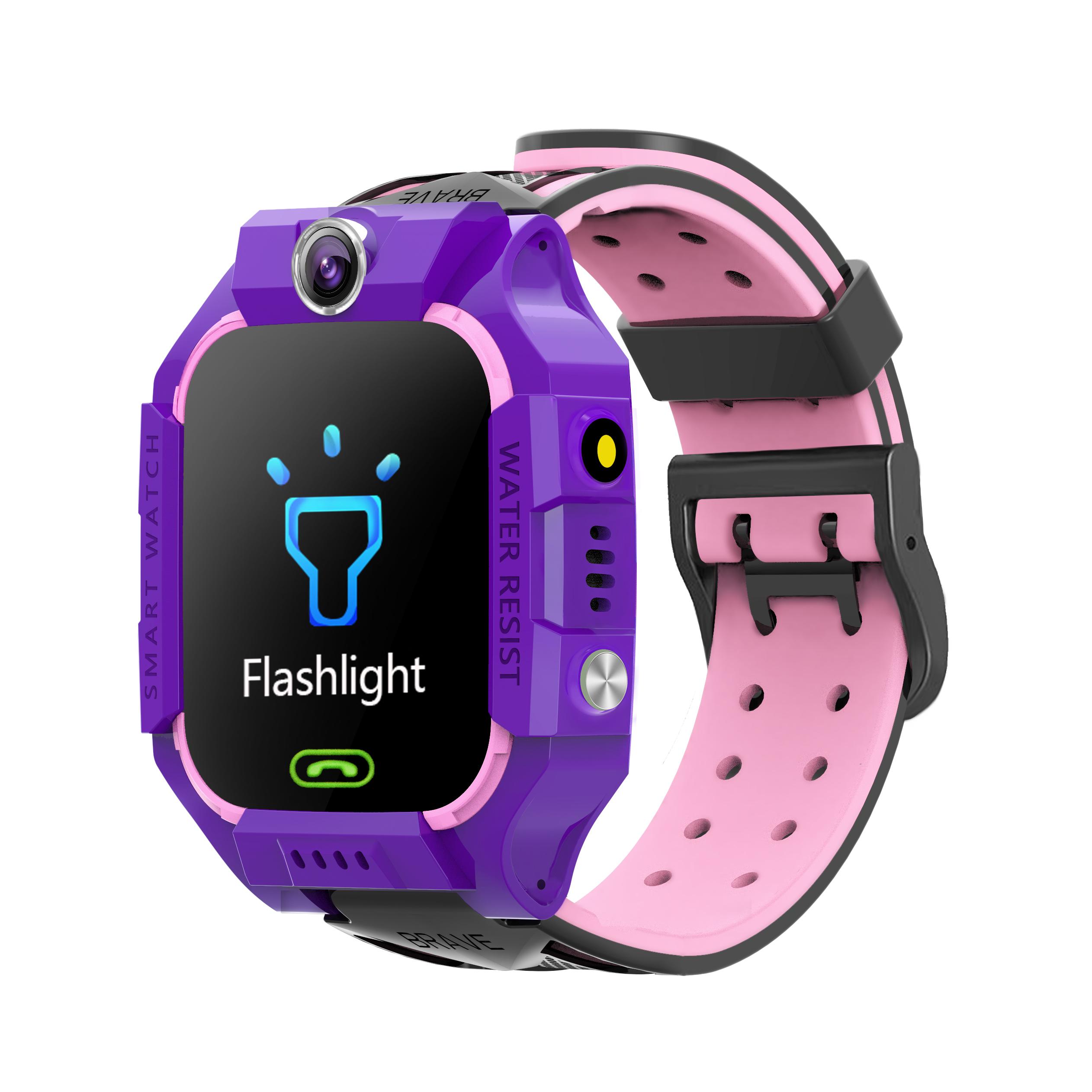 Z6 Children's Phone Watch GPS Flip rotation Location Kids Smartwatch Multifunctions Watch Pink