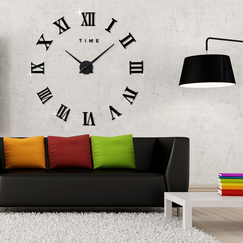 Fashionable Roman Numeral Wall Clock DIY Wall Ornament Home Office Hotel Decoration Gift  black