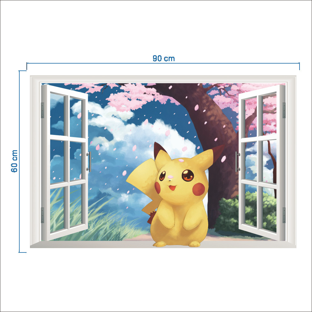 3D Wall Sticker for Kids Rooms Home Decor Cartoon Diy Posters Removable Decal 60 * 90CM