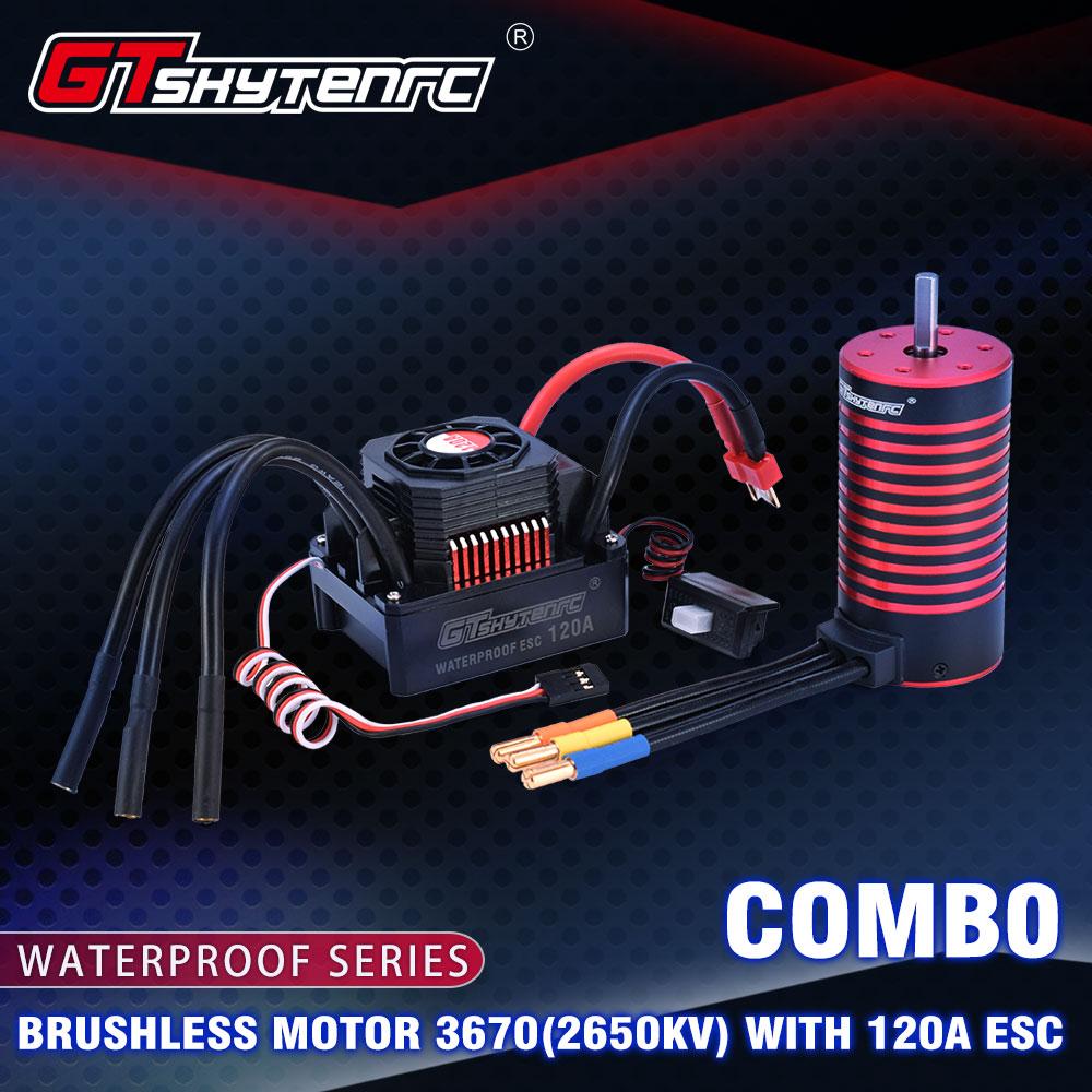 GTSKYTENRC Waterproof Combo F540  3300KV  4370KV Brushless Motor w/ 45A ESC for 1/10 RC Tamiya Axial Redcat 4370KV+45A