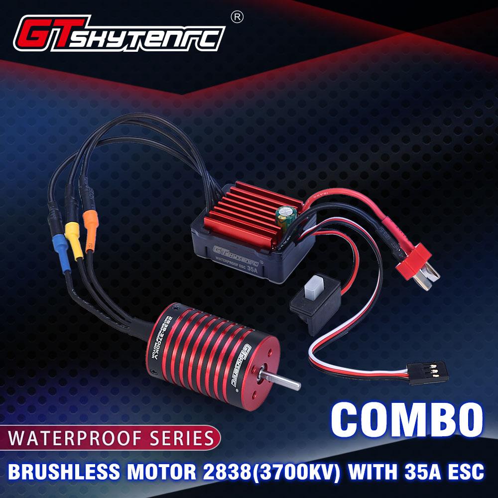 GTSKYTENRC Combo 2838  3700KV 4700KV Brushless Motor w/ 35A ESC for Traxxas HSP Tamiya Axial 1/16 1/12 RC Car 3700KV+35A
