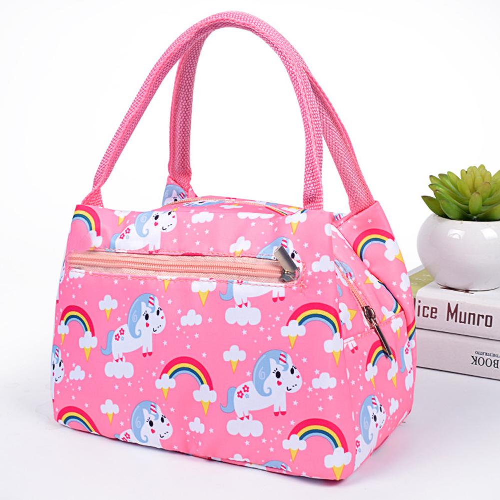 Women New fashion zipper portable insulation bag cartoon waterproof lunch bag with aluminum foil insulation lunch bag unicorn