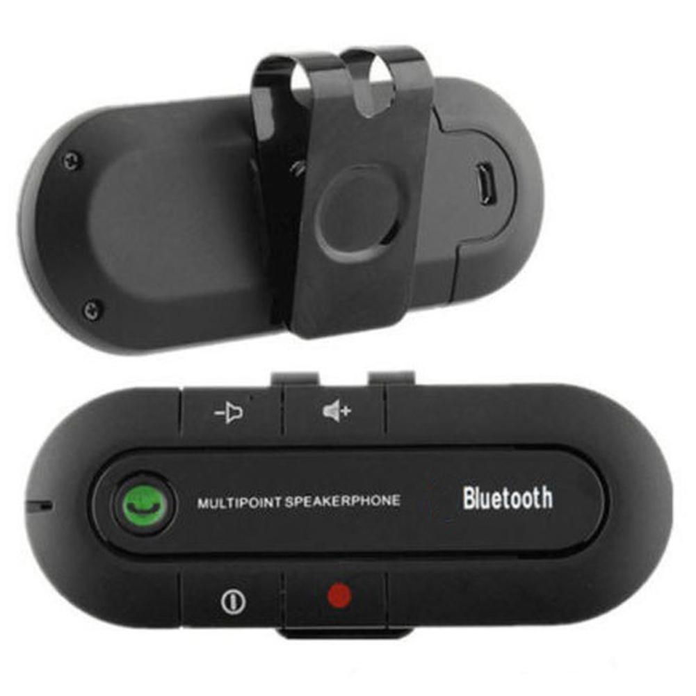 Wireless Multipoint Audio Music Receiver Bluetooth Hands Free Visor Speakerphone Car Kit Black
