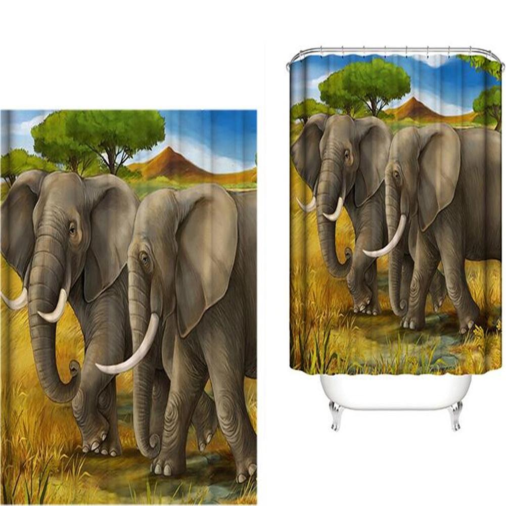 Elephant Theme Printing Shower  Curtain For Bathroom Bathtub Waterproof Curtain Two elephants walking_180*180cm