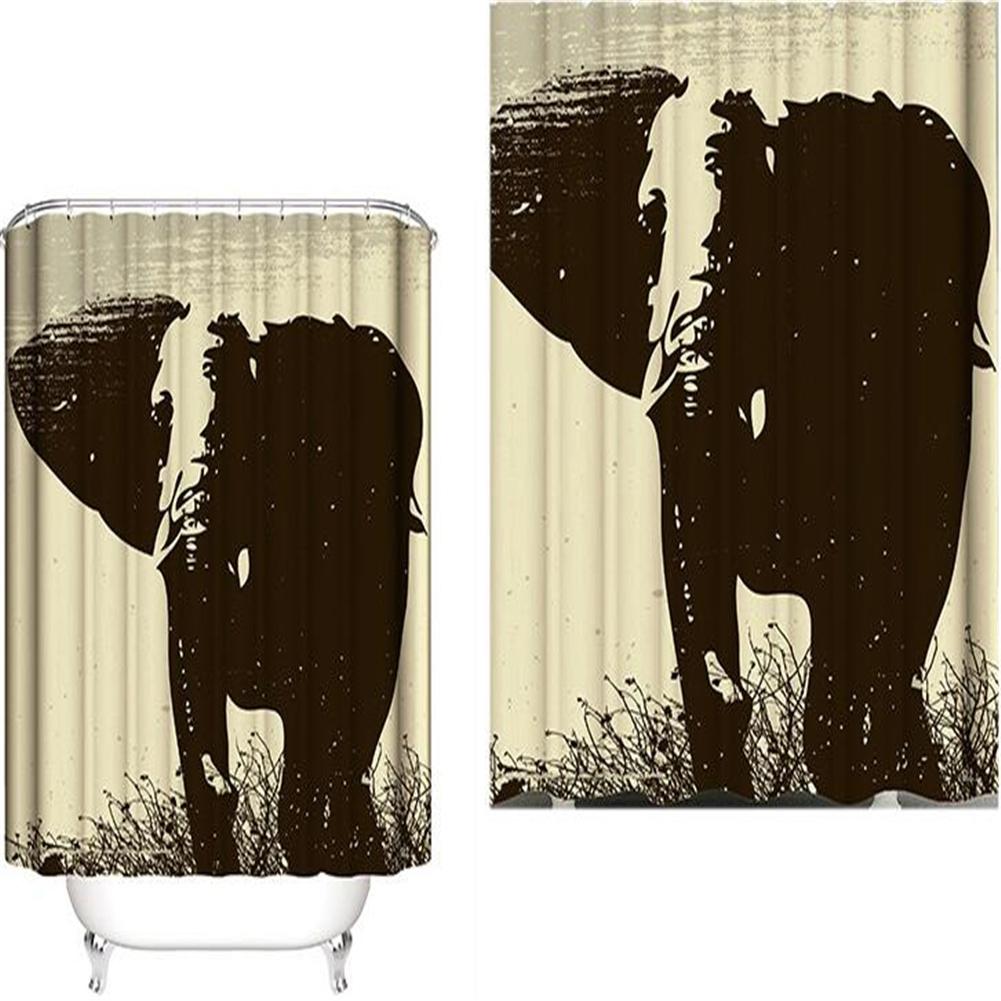 Elephant Theme Printing Shower  Curtain For Bathroom Bathtub Waterproof Curtain Black and white oil painting elephant_180*180cm