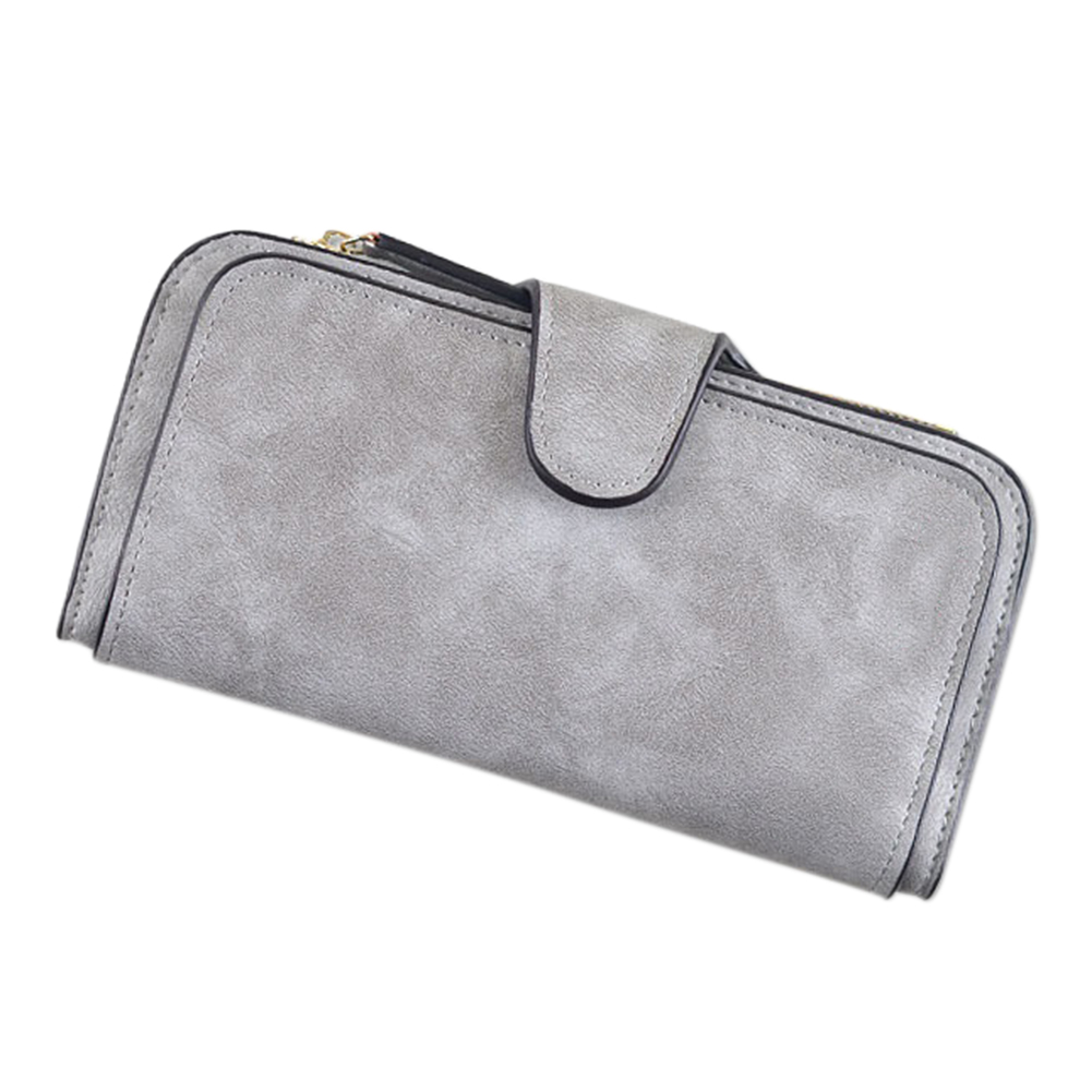 Fashion Leisure Ladies Leather Clutch Wallet Buckle Envelope Package  gray