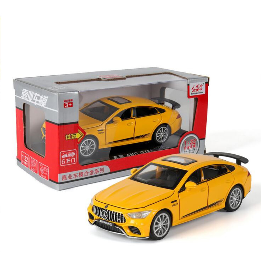 Simulation 1:32 AMG GT63S Children Toy Alloy Sports Car Model with Light Sound and Opening Door yellow