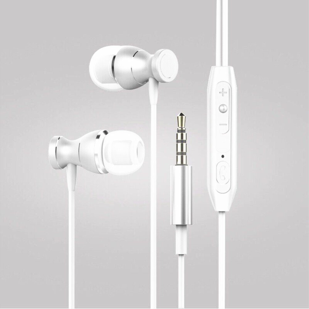 In-ear Headset Magnet Drive-by-wire Earphone with MIC MP3 Universal Headset white