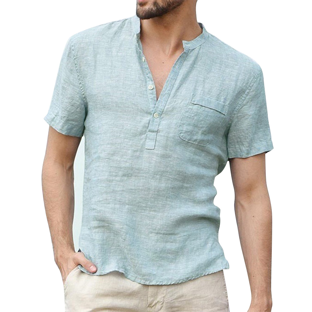 Men Solid Color Linen Cotton Shirt Short Sleeve Breathable Fashion T-shirt Light blue_XXL